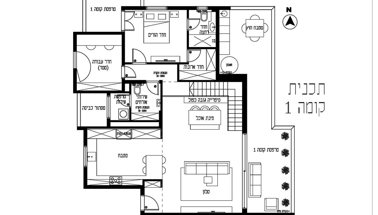דירה בכפר סבא, עיצוב הדס קזורר, תוכנית קומה 1