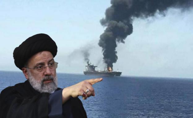 נשיא אירן ראיסי על רקע הספינה שנפגעה (צילום: ללא, AP)