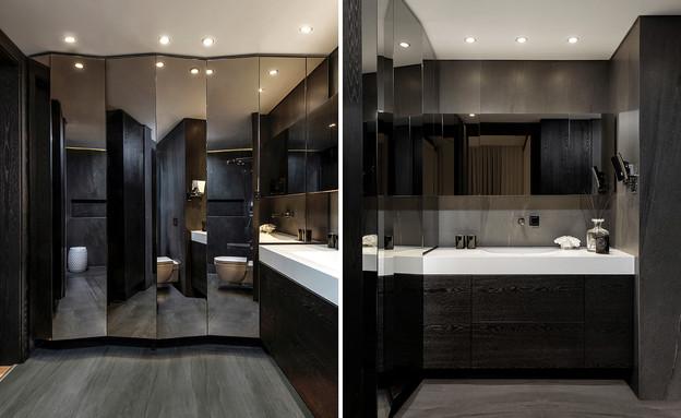פרויקט מראות, ארון מראה זוויותי בחדר רחצה, עיצוב כפיר גלאטיה אזולא (צילום: מושי גיטליס)