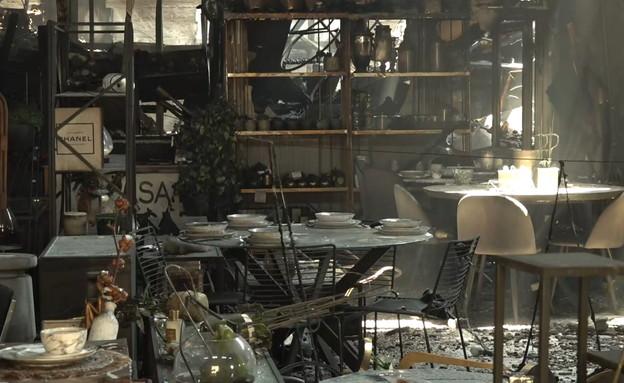 """בית עסק שהוצת ע""""י עבריינים, אזור התעשייה חצור הגלי (צילום: החדשות 12)"""