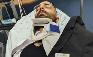 """העובד שנפצע בקטטה במלון בירושלים משחזר (צילום: מתוך """"חדשות הבוקר"""" , קשת 12)"""