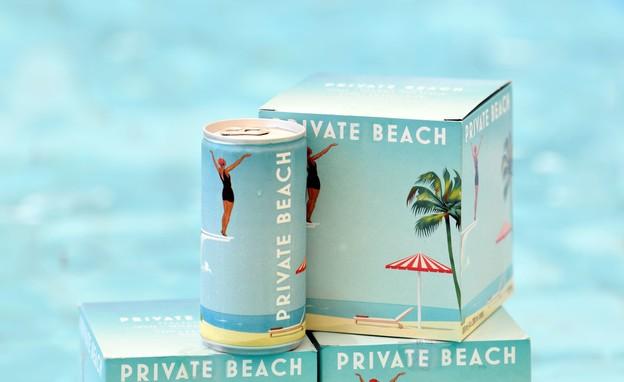 מארז פחיות יין private beach - 20 שח לפחית. 69 שח למארז רביעיה (צילום: גולי כהן)