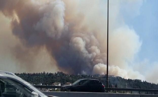 השרפה בהרי ירושלים מתחדשת (צילום: דיווחי הרגע)
