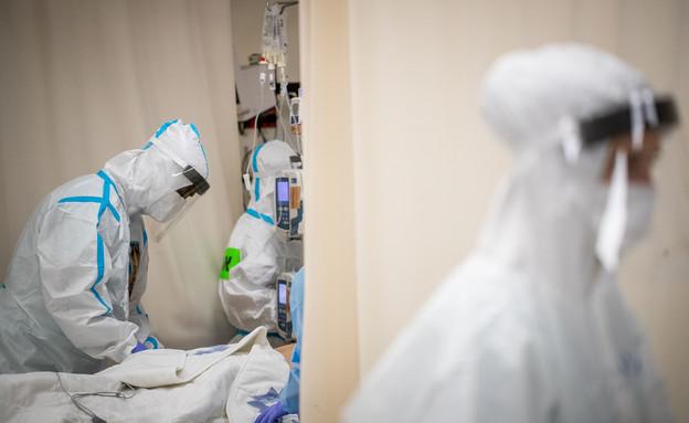 מחלקת קורונה בבית החולים שערי צדק בירושלים (צילום: יונתן זינדל, פלאש 90)