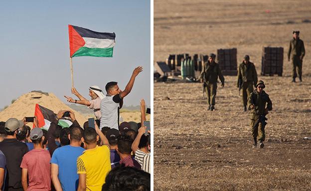 מפגנים בתהלוכת חמאס בגבול עזה (צילום: פלאש 90)