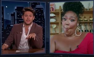 """ליזו מתראיינת לנייל הורן (צילום: צילום מסך מתוך היוטיוב של """"Jimmy Kimmel Live)"""