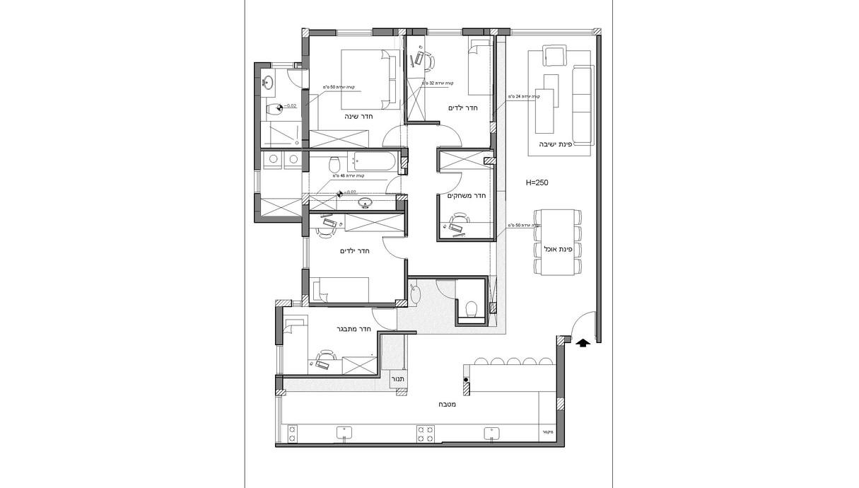 דירה בלוד, עיצוב מינדי ויזל, ג, תוכנית הדירה אחרי השיפוץ