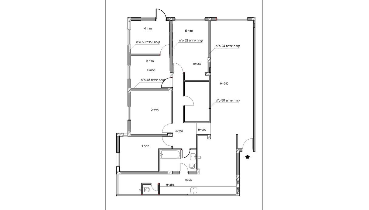 דירה בלוד, עיצוב מינדי ויזל, ג, תוכנית הדירה לפני השיפוץ