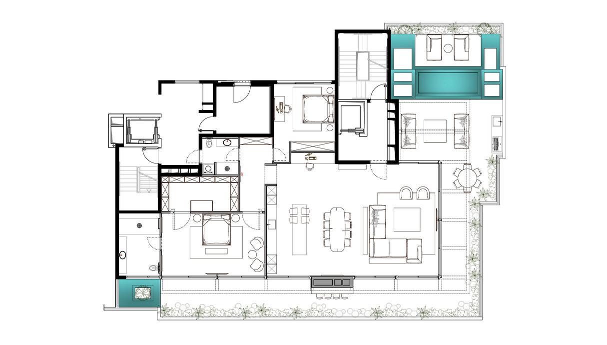 דירה בתל אביב, עיצוב אושיר אסבן, תוכנית הדירה