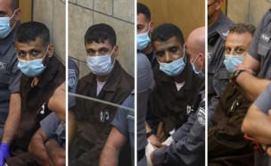 האסירים שנתפסו בהארכת מעצר בבית המשפט (עיבוד: דויד כהן, פלאש 90)