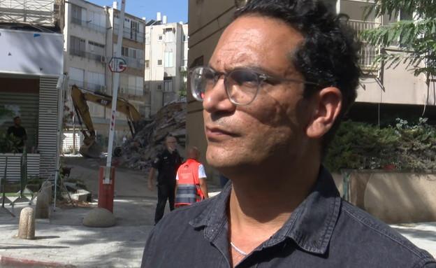 אביעד מור אדריכל העיר חולון במקום האירוע  (צילום: חדשות 12)