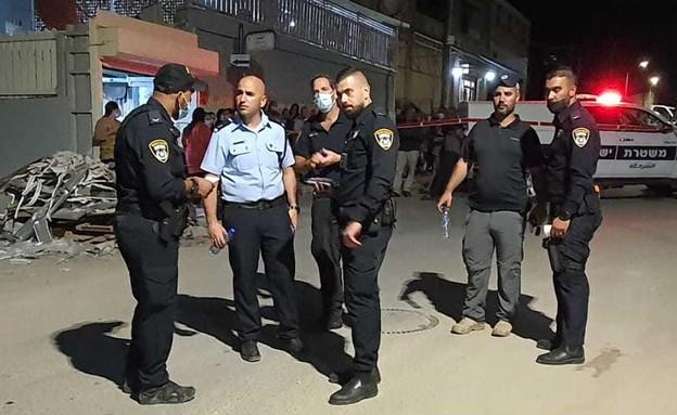זירת הירי בג'סר א-זרקא (צילום: דוברות המשטרה)