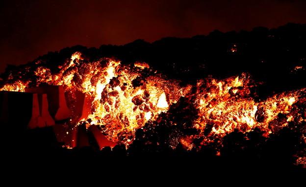 התפרצות הר געש באי הקנרי לה פלמה, ספרד (צילום: רויטרס)