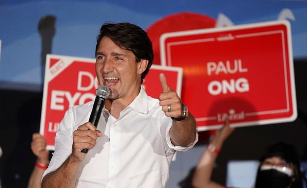 ראש ממשלת קנדה ג'סטין טרודו במהלך קמפיין הבחירות (צילום: רויטרס)