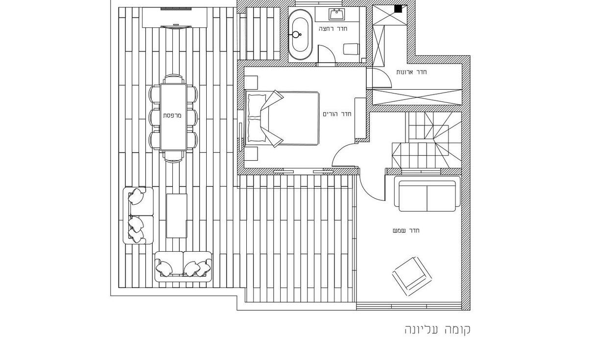 דופלקס ברמת גן, עיצוב שני רינג, תוכנית קומה עליונה