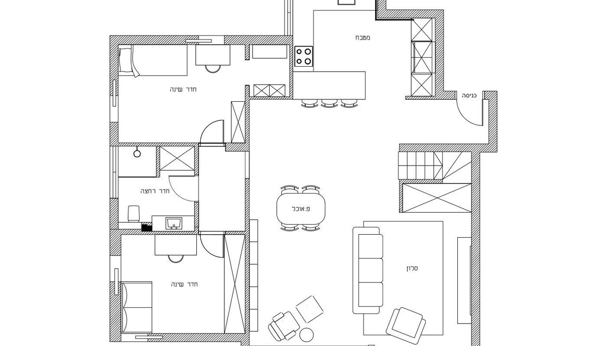 דופלקס ברמת גן, עיצוב שני רינג, תוכנית קומה תחתונה