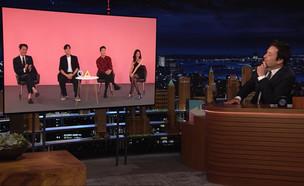 """שחקני הסדרה """"משחק הדיונון"""" מתארחים אצל ג'ימי פאלון (צילום: צילום מסך)"""