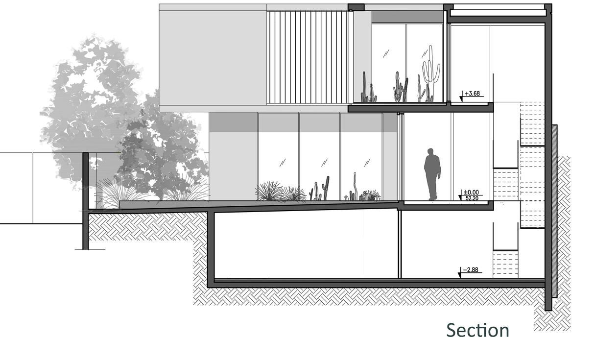 בית במרכז, לוין-פקר אדריכלים, תוכנית אדריכלית חתך - 2