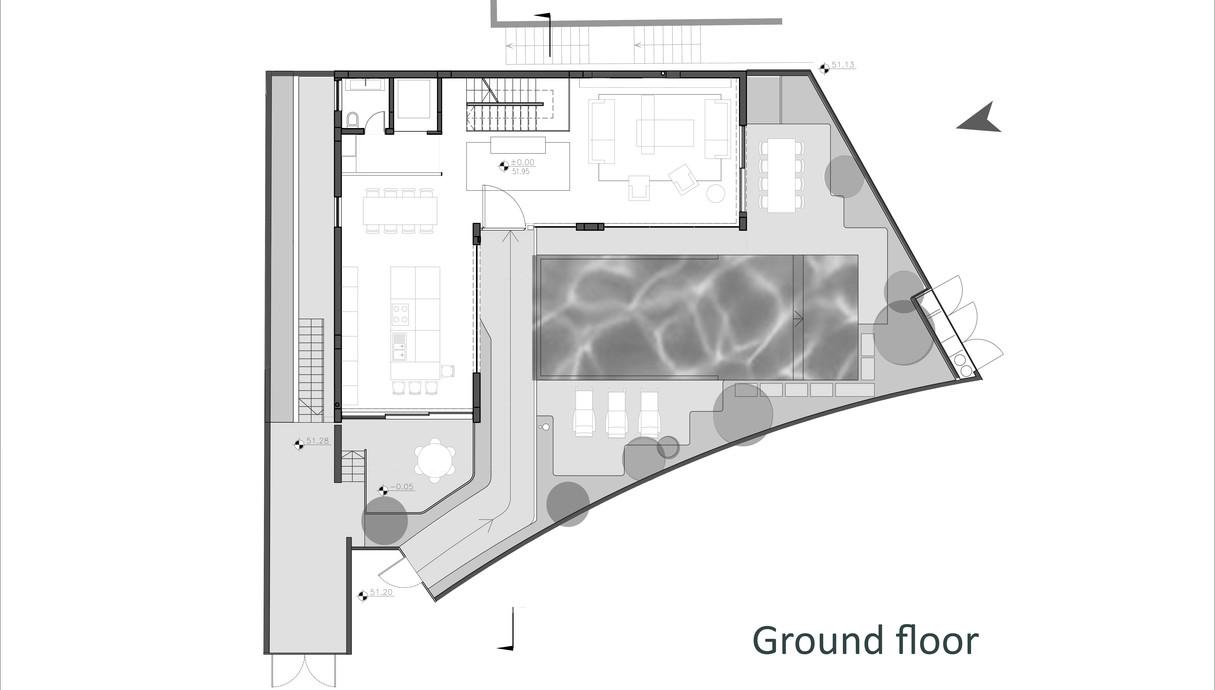 בית במרכז, לוין-פקר אדריכלים, תוכנית אדריכלית קומת קרקע - 1