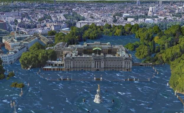 כך לונדון תראה אם מפלס פני הים יעלה (עיבוד: Climate Central)