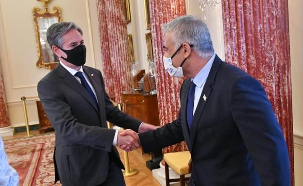 """שר החוץ לפיד עם שר החוץ של ארה""""ב אנתוני בלינקן (צילום: שלומי אמסלם, לע""""מ)"""