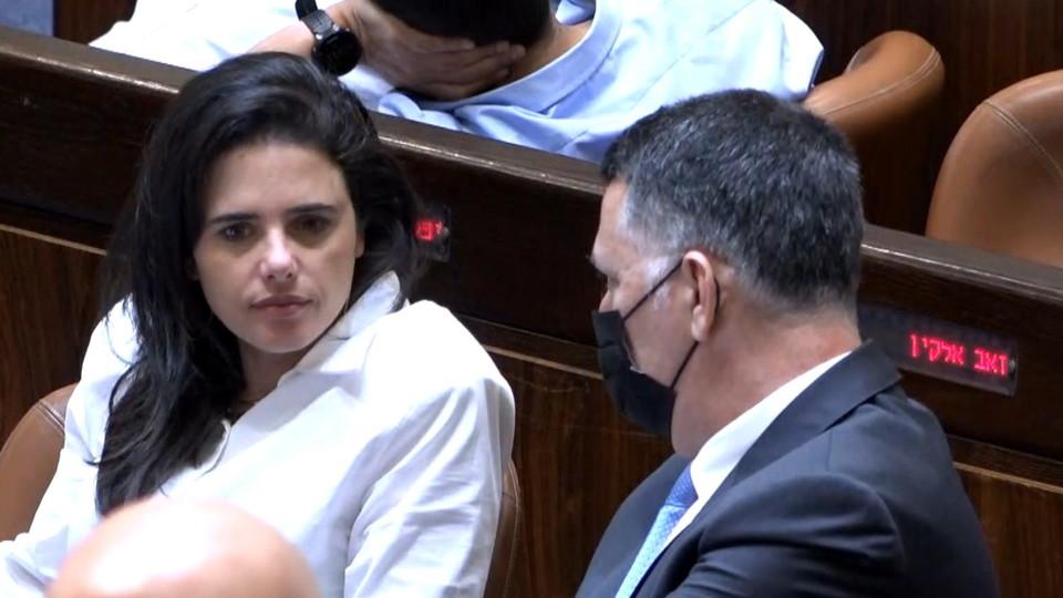 אילת שקד וגדעון סער מדברים במליאה ביום הבחירות לנשיאות (צילום: ערוץ הכנסת)